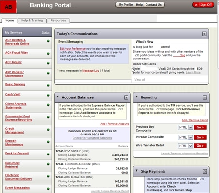integration portal for a bank