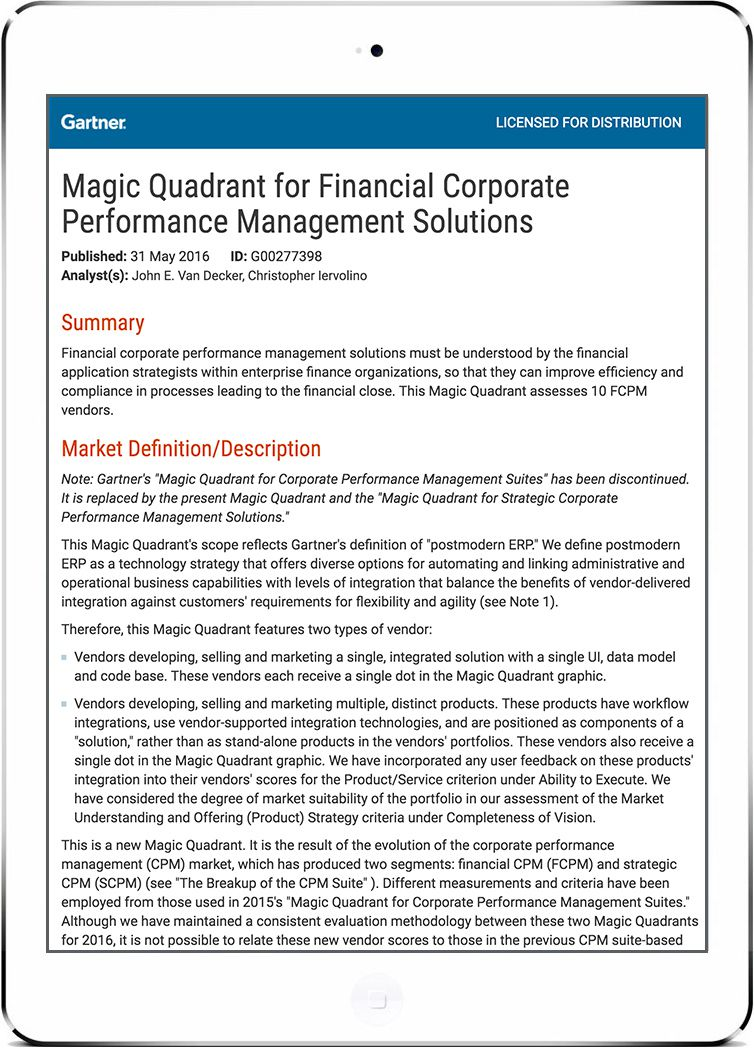 Gartner's Magic Quadrant for Financial Corporate Performance Management Solutions