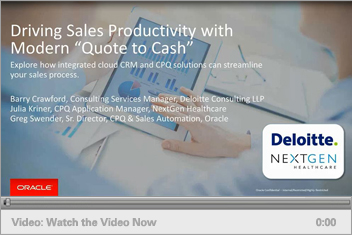 "Driving Sales Productivity with Modern ""Quote to Cash"""