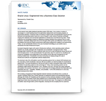 IDC Whitepaper:  Oracle Linux: Engineered to Business Class Solution