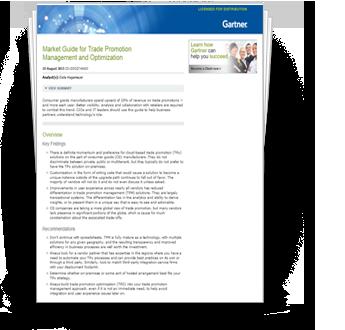 Gartner Market Guide for Trade Promotion Management and Optimization